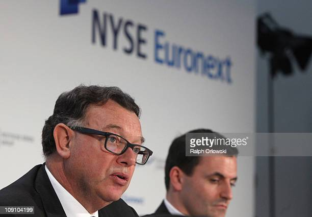 Reto Francioni CEO of Deutsche Boerse Group AG addresses the media during a news conference on February 15 2011 in Frankfurt am Main Germany NYSE...
