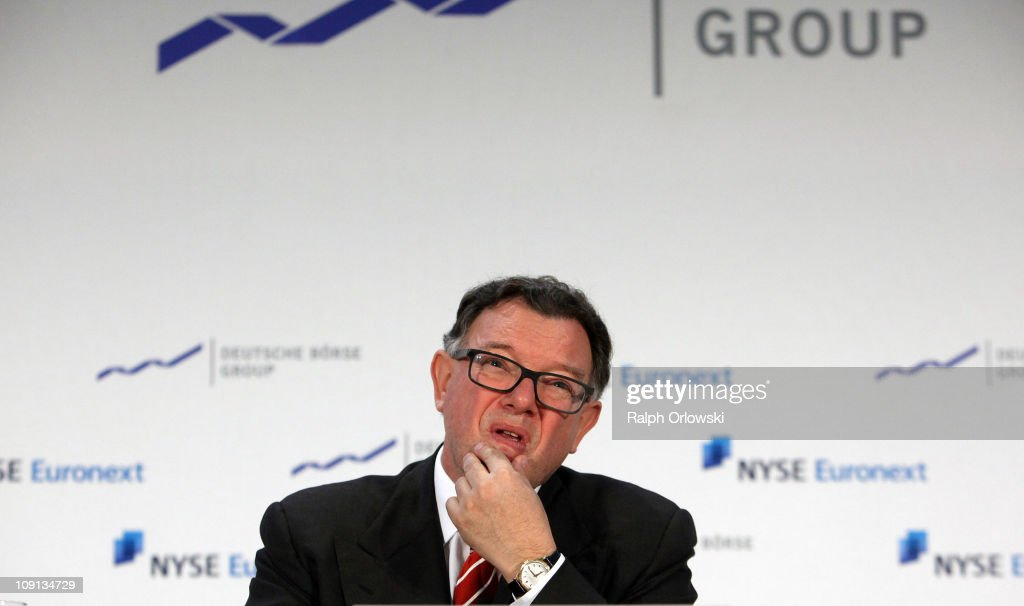 <a gi-track='captionPersonalityLinkClicked' href=/galleries/search?phrase=Reto+Francioni&family=editorial&specificpeople=619017 ng-click='$event.stopPropagation()'>Reto Francioni</a>, CEO of Deutsche Boerse Group AG looks up during a news conference on February 15, 2011 in Frankfurt am Main, Germany. NYSE Euronext and Germany's Deutsche Boerse agreed to merge in a 10 billion Dollar deal that will create the world's largest exchange for stocks and derivatives.