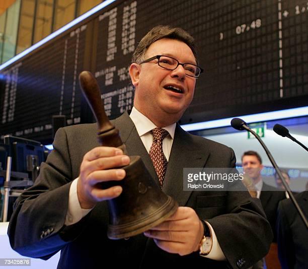 Reto Francioni CEO of Deutsche Boerse rings the bell on the trading floor of Frankfurt stock exchange February 26 2007 in Frankfurt Germany Francioni...