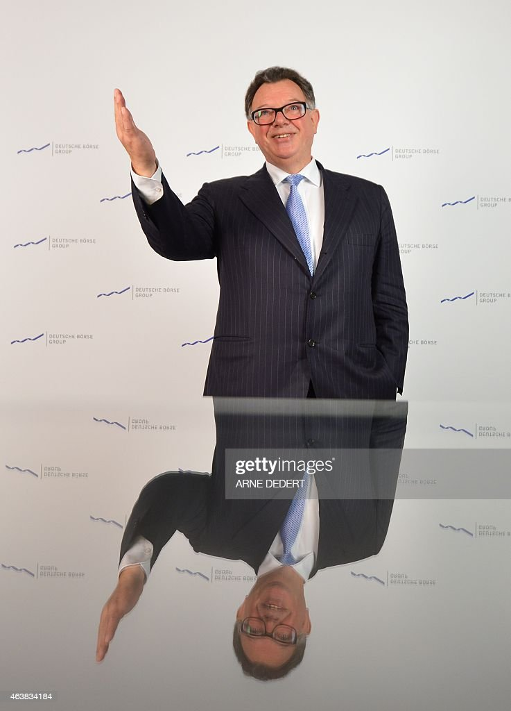 <a gi-track='captionPersonalityLinkClicked' href=/galleries/search?phrase=Reto+Francioni&family=editorial&specificpeople=619017 ng-click='$event.stopPropagation()'>Reto Francioni</a>, chairman of German stock exchange operator Deutsche Boerse AG, gestures during his company's annual press conference on February 19, 2015 in Frankfurt am Main, western Germany.