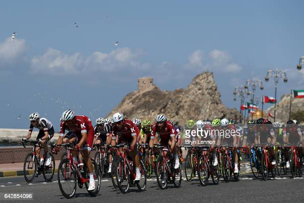 Reto Hollenstein of Switzerland and Team Katusha Alpecin leads the peloton during stage six of the 8th Tour of Oman a 1305km road stage from The Wave...