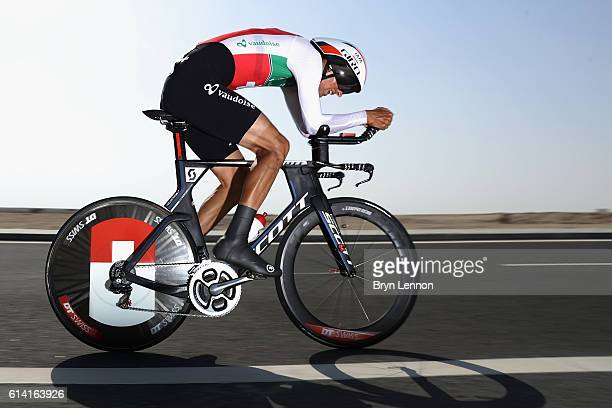 Reto Hollenstein of Switzerland in action during the Men's Elite Individual Time Trial on Day Four of the UCI Road World Championships at Lusail...