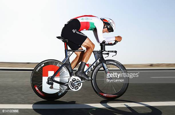 Reto Hollenstein of Switzerland rides during the Men's Elite Individual Time Trial on Day Four of the UCI Road World Championships at Lusail Sports...