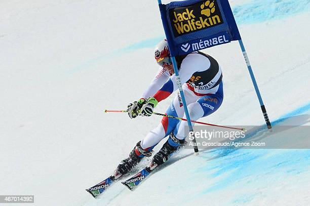 Reto Schmidiger of Switzerland competes during the Audi FIS Alpine Ski World Cup Finals Nations Team Event on March 20 2015 in Meribel France