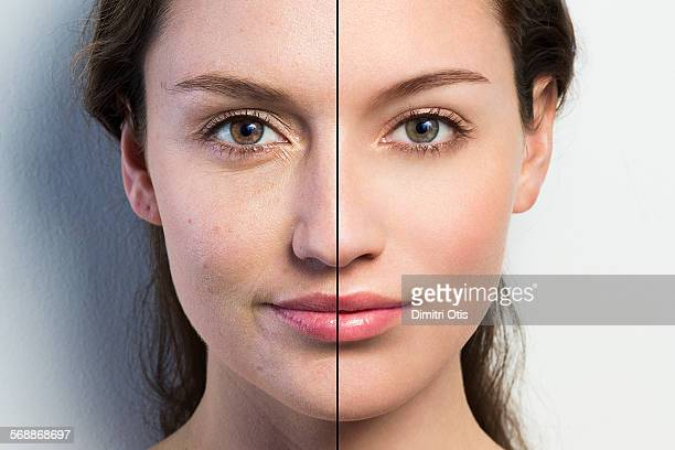 Retouched face vs natural face close-up