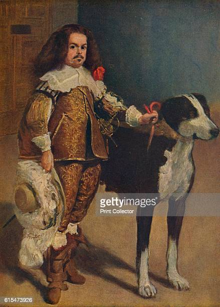 Retrato del bufon Don Antonio el 'Inglés' The portrait depicts a dwarf or court jester smartly dressed in an ochre suit with gold embroidery lace...