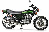 Retro 1970s Japanese motorcycle in studio