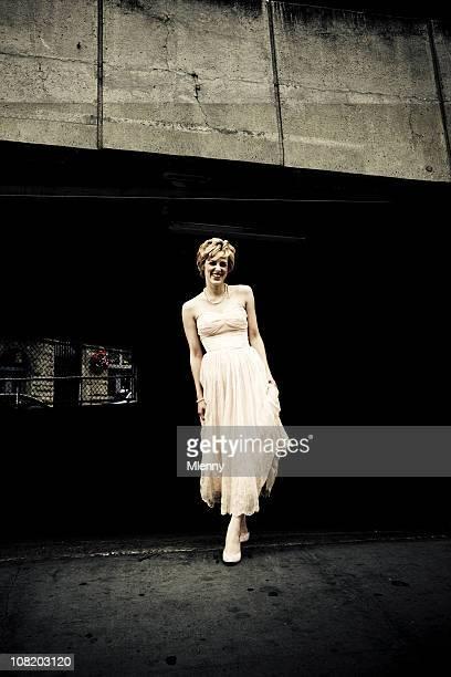 Retro 50`s Woman Urban Fashion Portrait