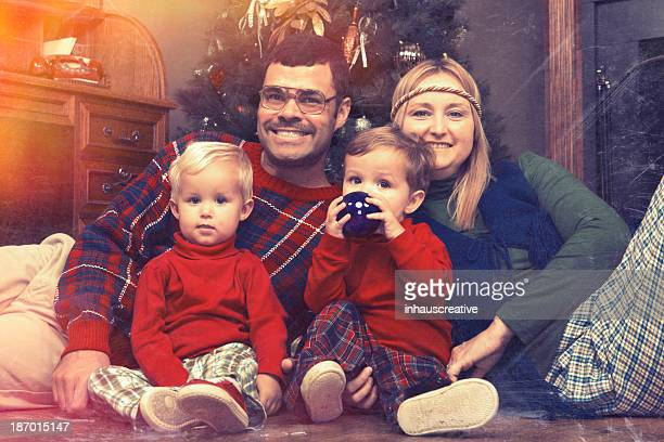 Retro 70's Looking Christmas Family Photo