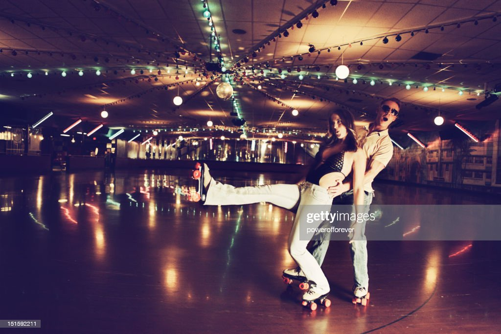 Retro 70's Roller Disco Couple : Stock Photo
