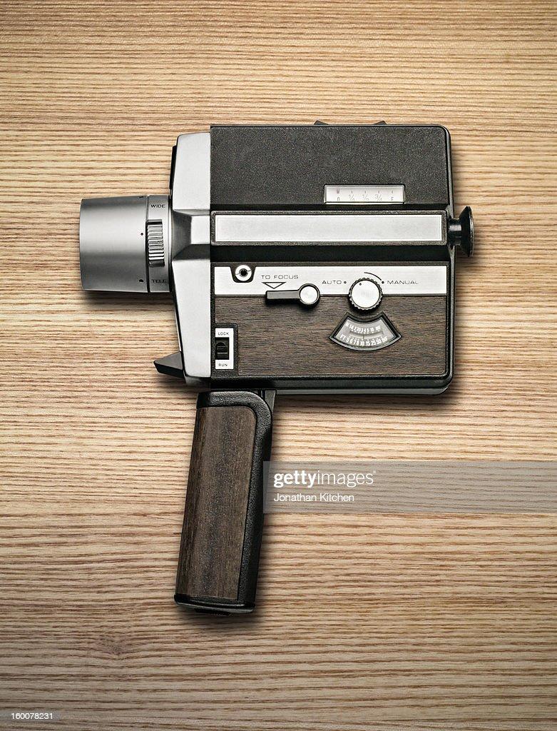 Retro 8mm Camera on Wood
