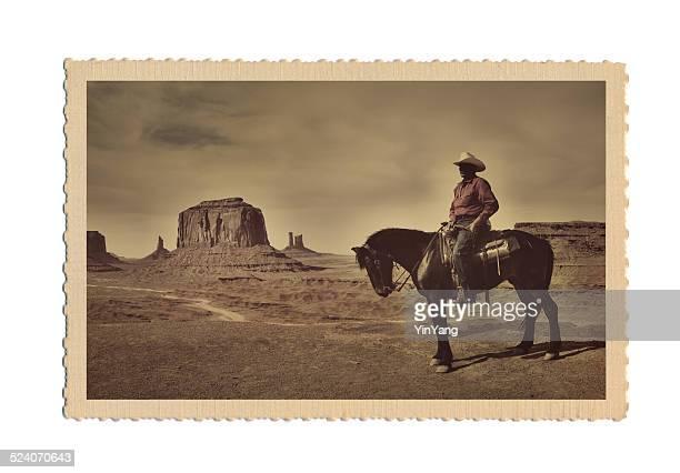 Retro alte Postkarte Foto des amerikanischen Westens-Szene mit Cowboy