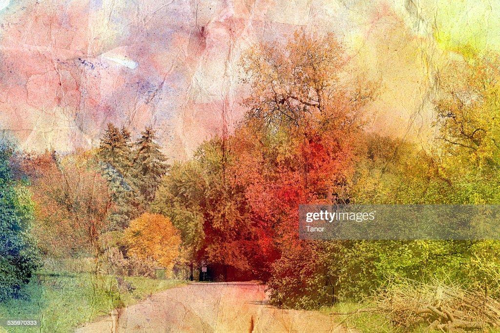 retro autumn landscape : Stock Photo