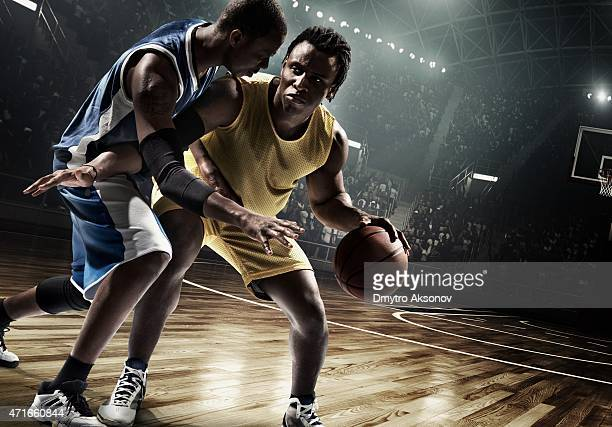 Retro basketball game moment