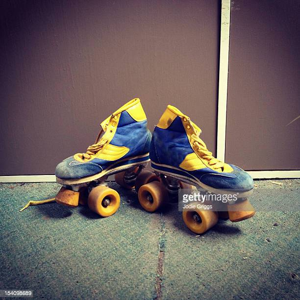 Retro blue and yellow roller-skates