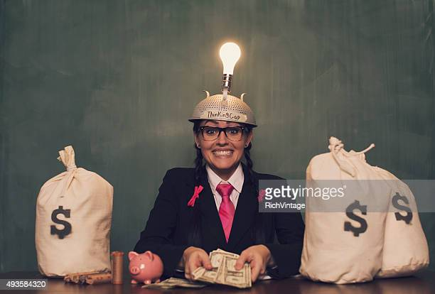 Retro Businesswoman with Thinking Cap Shows Money