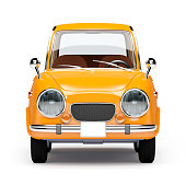 retro car orange in 60s style isolated on a white background. Front view. 3d illustration.
