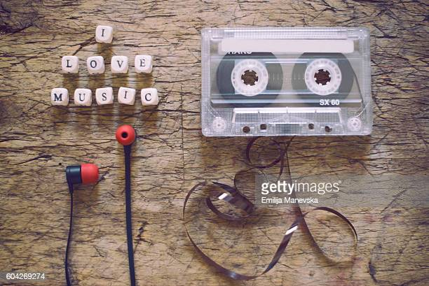 Retro cassette and headphones. I love music concept