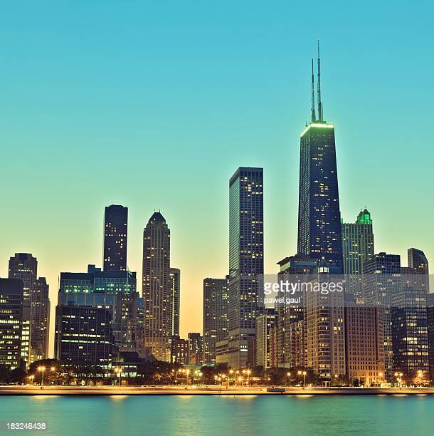 Retro Chicago skyline at night
