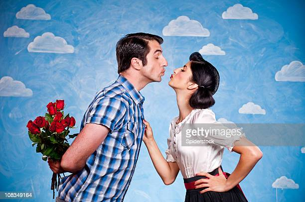 Retro Couple Kissing