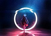 Retro Future. A futuristic spaceman walking thorugh a circle of light. 3D illustration
