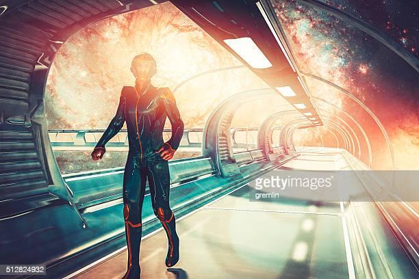 Retro futuristic sci-fi concept, commander, skybridge