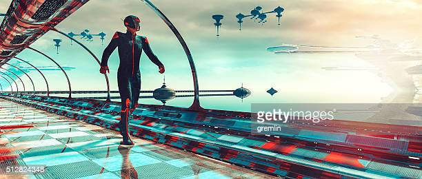 Retro futurista Sci-Fi concepto de terraformación planetarios