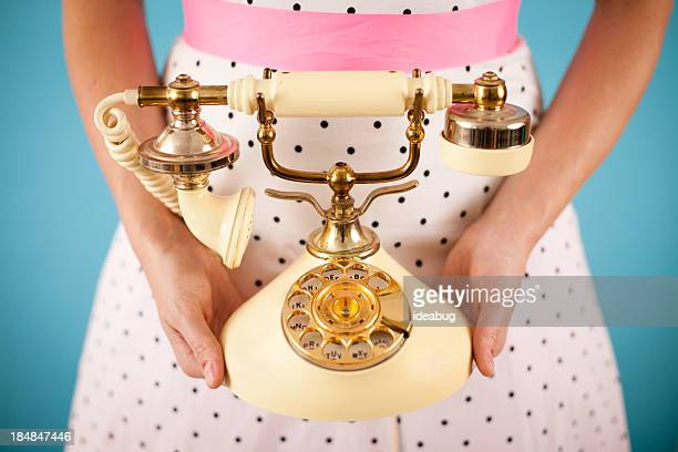 Retro Gal Holding a Vintage Victorian Style Candlestick Phone