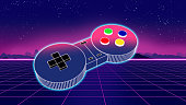 retro game controller on colorful background 3d illustration,e-sport and online gaming