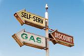 Retro gas station road sign arrows
