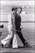 Retro Hafez El Assad in Damascus Syria on September 30 1978 Moammar Gadhafi welcomes Hafez El Assad