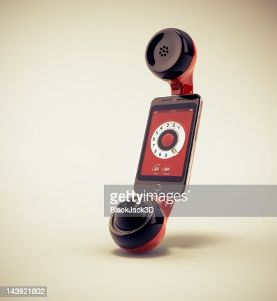 Retro Handset for Mobile Phone : Stock Photo