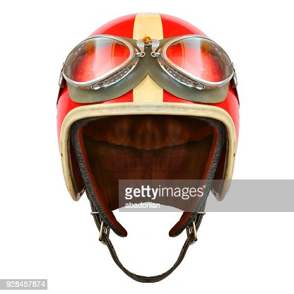 Retro helmet with goggles on a white background. Protective headwear for motorcycle and automobile race. : Stock Photo