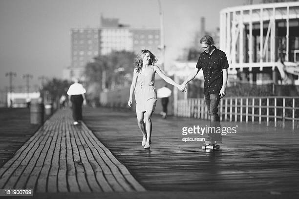 Retro hipster-Paar in Liebe, Brooklyn, New York
