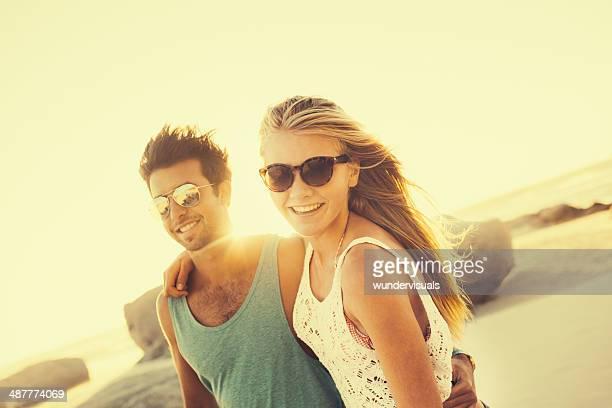 Retro Hipster Couple on beach