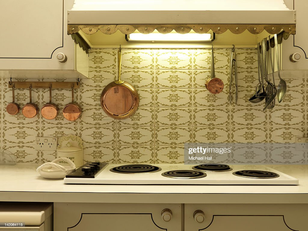Retro house interior kitchen : Stock Photo