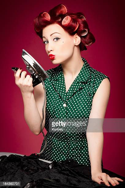 Retro housewife ironing