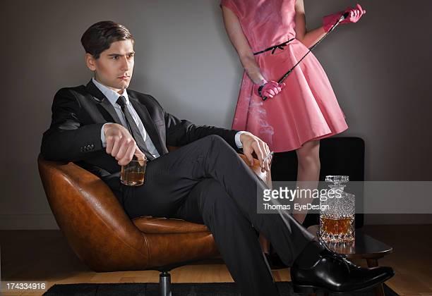 Retro husband drinking and smoking