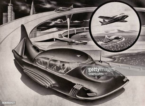 Retro illustration of a couple being driven in a futuristic electric car that drives on the road flies in the air and functions as a boat 1952 Screen...