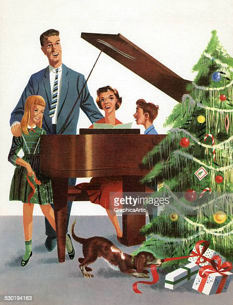 Retro illustration of a family at a piano singing carols by their Christmas tree 1957