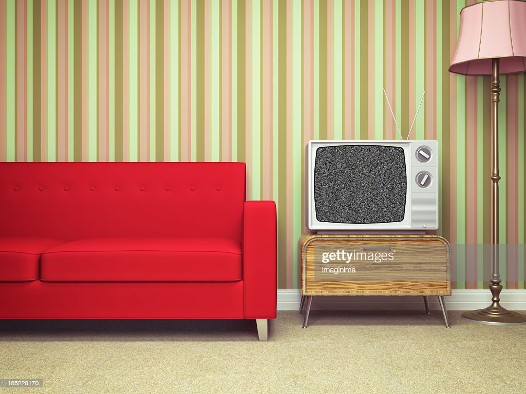 Vintage Television In Retro Living Room Stock Photo Getty Images