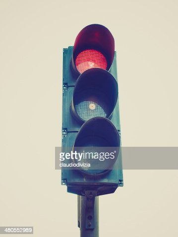 Retro estilo semáforo bandera semáforo : Foto de stock