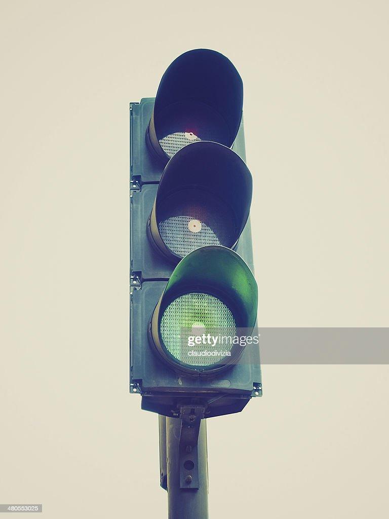 Retro look Traffic light semaphore : Stock Photo
