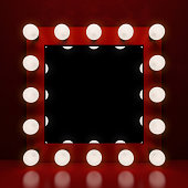 Retro makeup mirror on the red background. 3D illustration