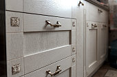 retro metal cabinet knobs in the kitchen