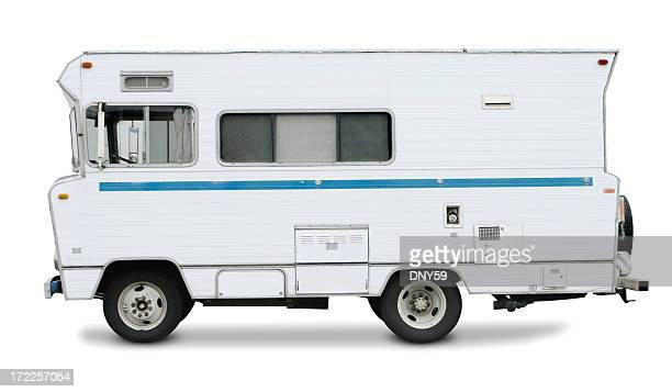 Retro Motorhome Isolated O White Background