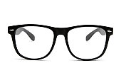Photo of black nerd glasses isolated on white background with clipping path for the outline and inside