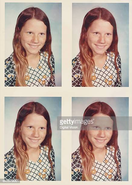 Retro Passport Photos of a Teenage Girl