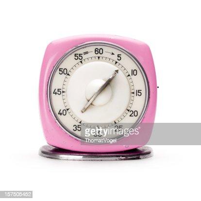 Retro pink kitchen timer