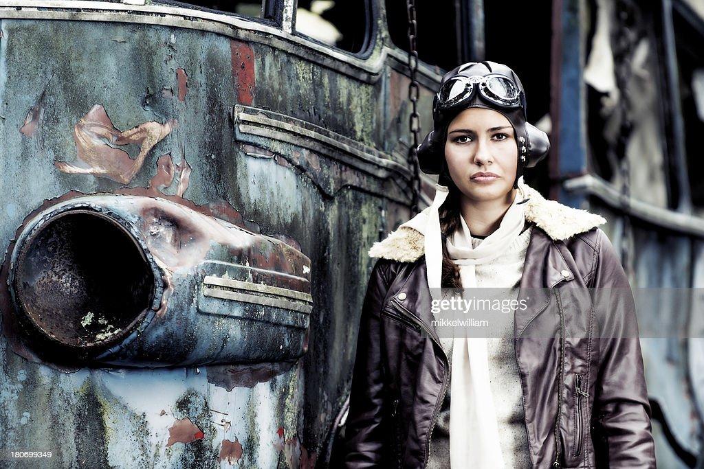 Retro portrait of a female aviator : Stock Photo